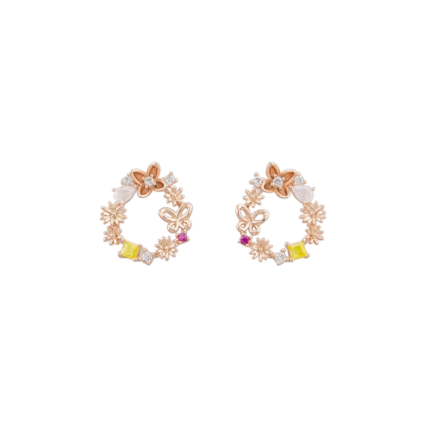 Tiger Tree | Flower Garden Crystal Earrings - Rose Gold | Shut the Front Door