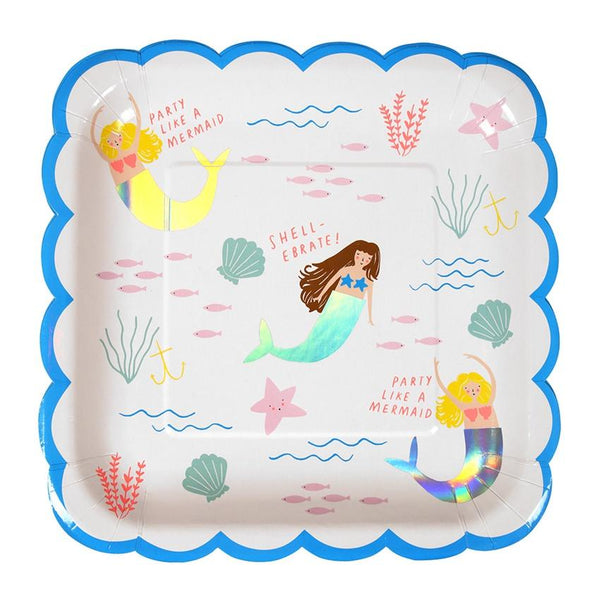 Meri Meri | Lets Be Mermaids Party Plates Large | Shut the Front Door