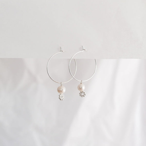 Hydrangea Ranger | Silver Hoops - Fresh Water Pearl & Small Flower | Shut the Front Door