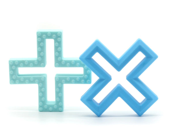 Lulu Lala | Cross Silicone Teether - Blue - Set of 2 | Shut the Front Door