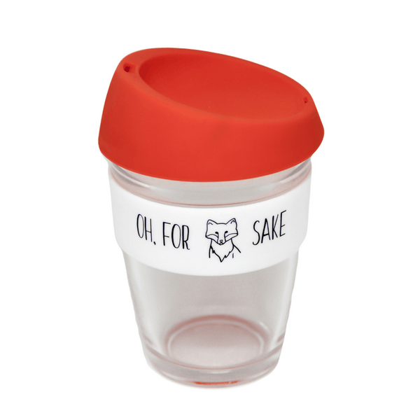 General Eclectic | Reusable Glass Coffee Cup - For Fox Sake | Shut the Front Door