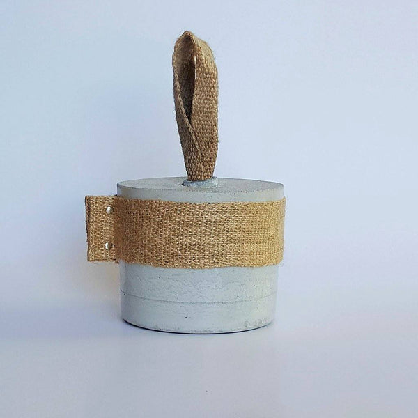 Chalk Design | Doorstop Natural Concrete Hemp Handle | Shut the Front Door