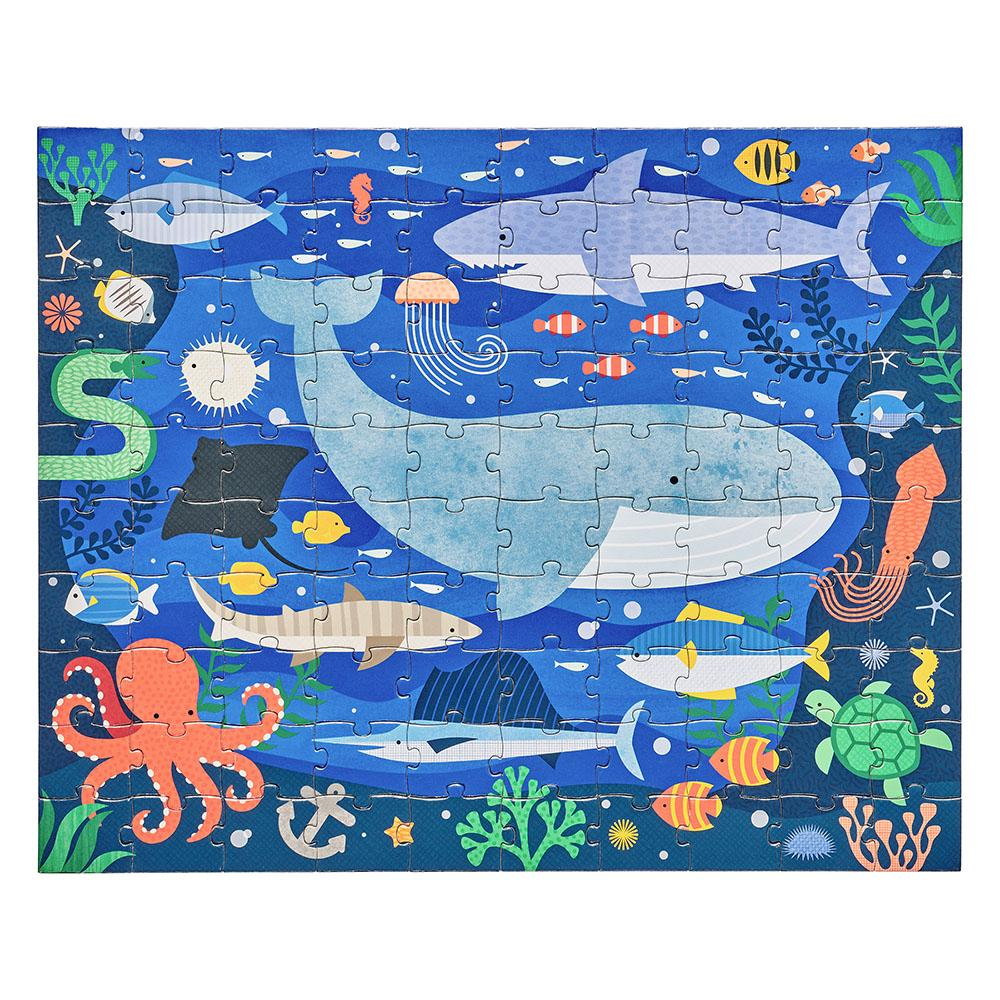 Petit Collage | Under The Sea - Two Sided  On The Go Puzzle | Shut the Front Door