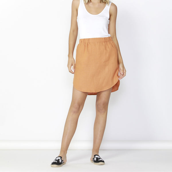 Betty Basics | Duke Linen Skirt - Rust | Shut the Front Door