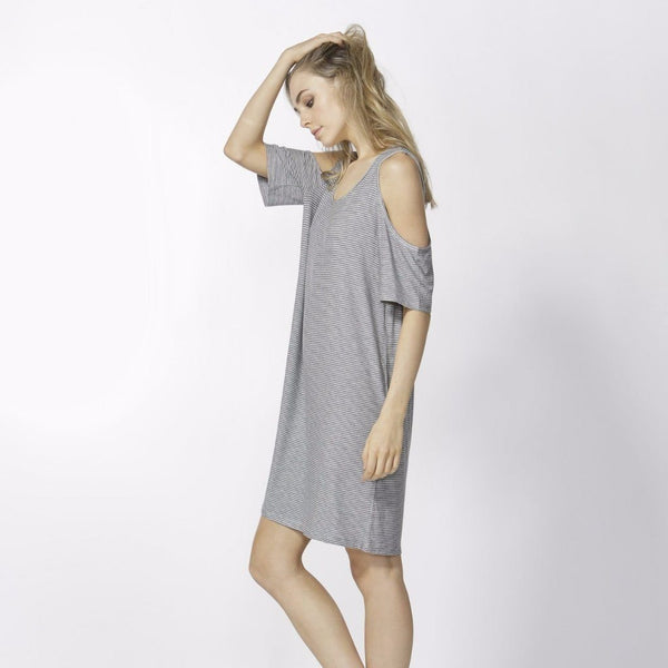 Betty Basics | Havana Dress Silver Marle / Indigo Stripe | Shut the Front Door