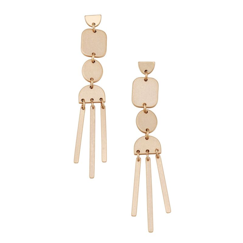 Tiger Tree | Long Wind Chime Earrings - Gold | Shut the Front Door