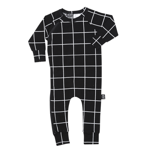 Zip Romper Black Check