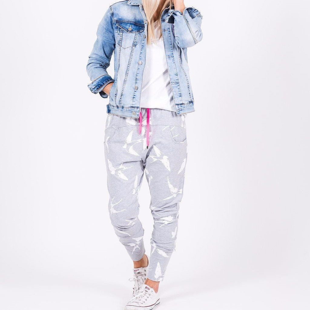 Home-lee | Apartment Pant Grey White Bird Print *PREORDER* | Shut the Front Door