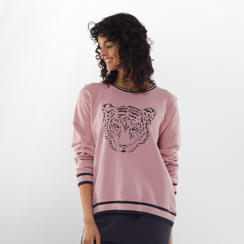 Elm Knitwear | Trixie Tiger Crew - Pink | Shut the Front Door