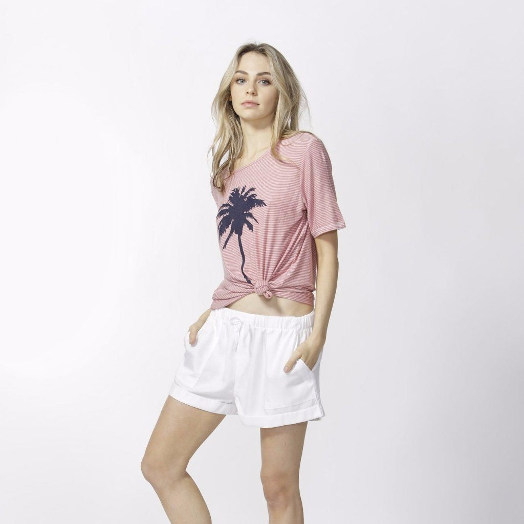 Betty Basics | Los Angeles Tee Rose/White Stripe | Shut the Front Door
