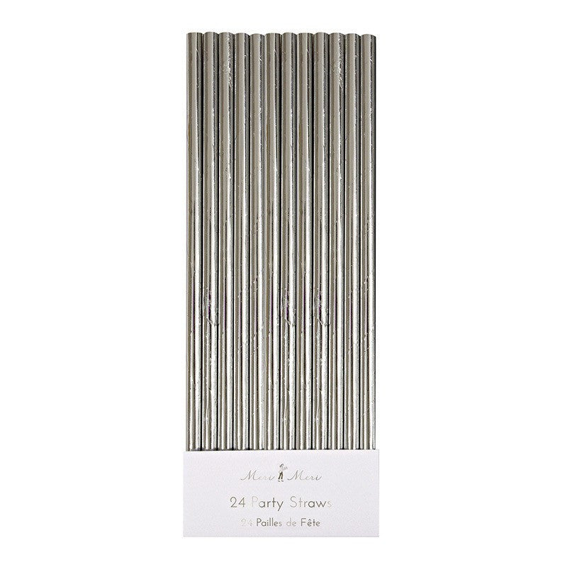 Meri Meri | Foiled Paper Straws Silver | Shut the Front Door