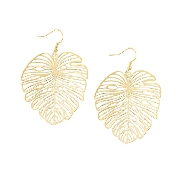 Tiger Tree | Gold Festive Monstera Earrings | Shut the Front Door