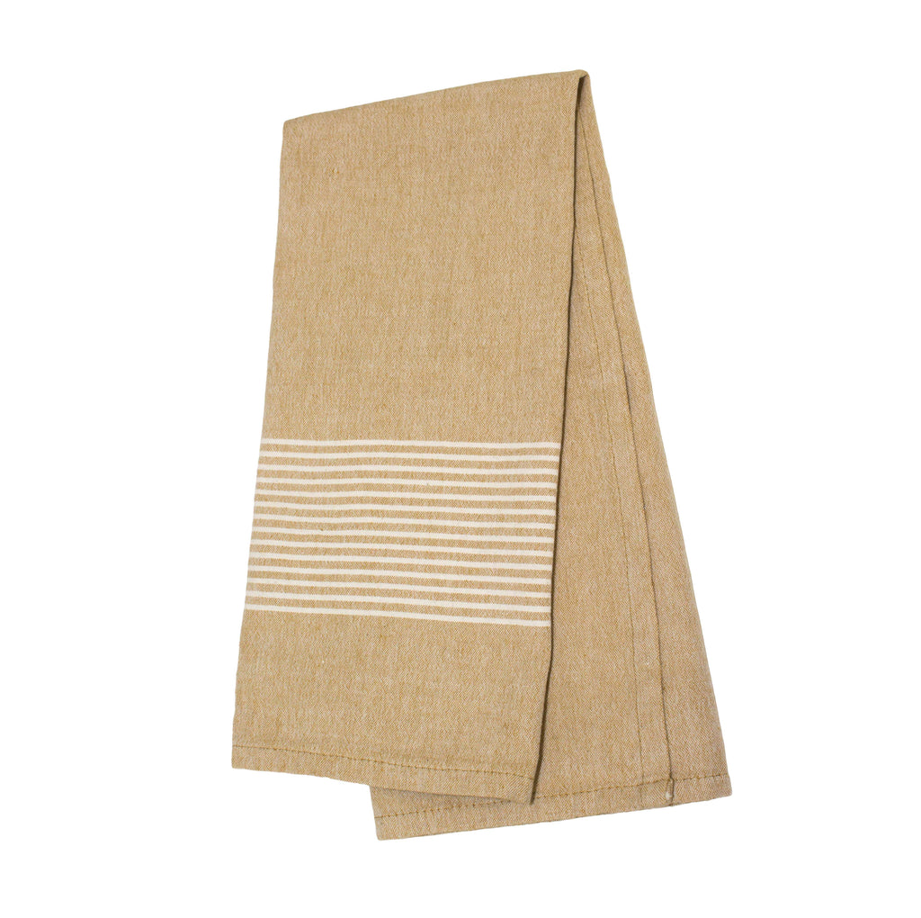 Raine & Humble | Olive Grove Tea Towel - Mustard/Stripe Trim | Shut the Front Door