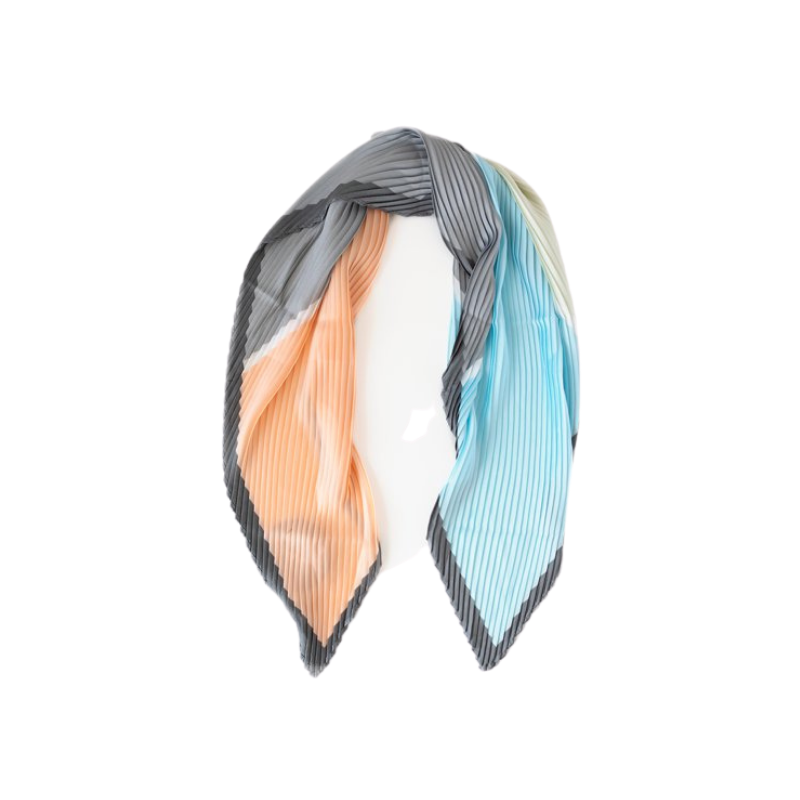 Antler NZ | Pleated Block Scarf - Apricot/Blue/Grey | Shut the Front Door