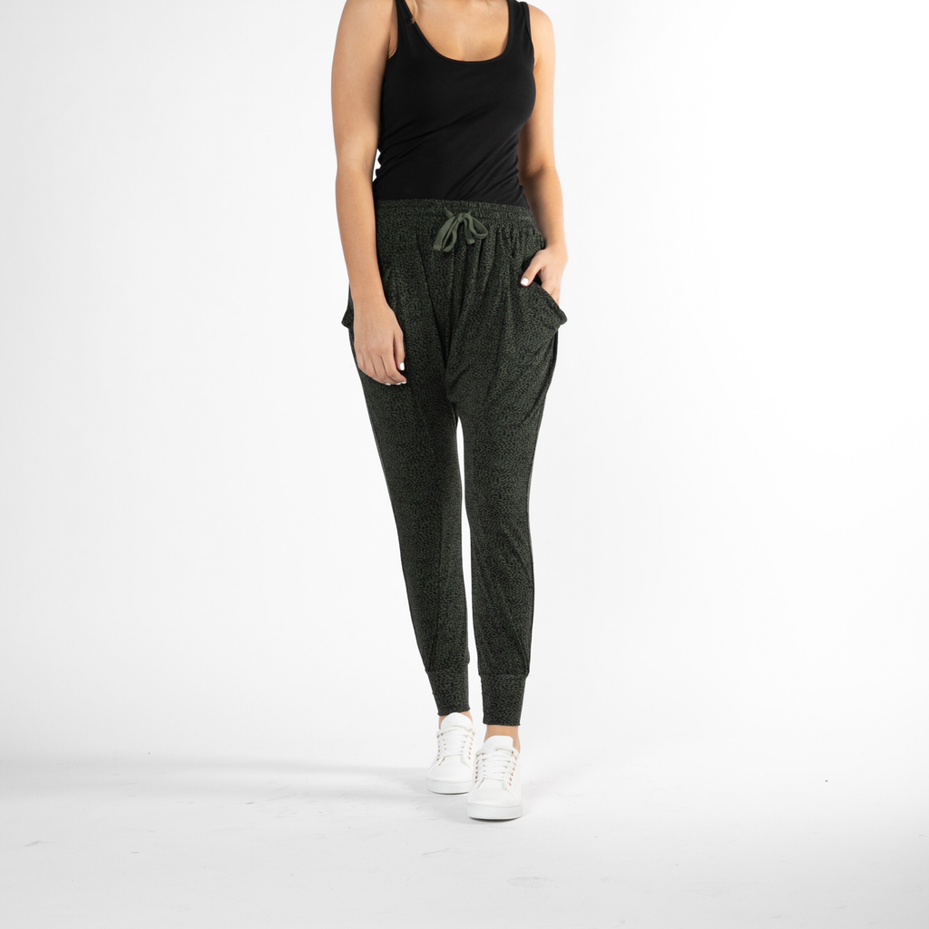 Betty Basics | Barcelona Pant - Olive & Black Terrain | Shut the Front Door