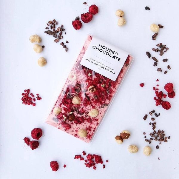 House of Chocolate | Raspberry Hazelnut Cacao White Chocolate Bar | Shut the Front Door