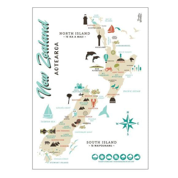 Toodles Noodles | Tea Towel Map of NZ | Shut the Front Door