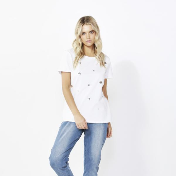 Betty Basics | Cara Tee Sequin White | Shut the Front Door