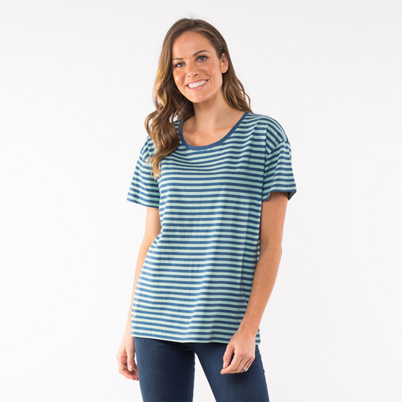 Elm Knitwear | Siesta Stripe Tee - Blue | Shut the Front Door