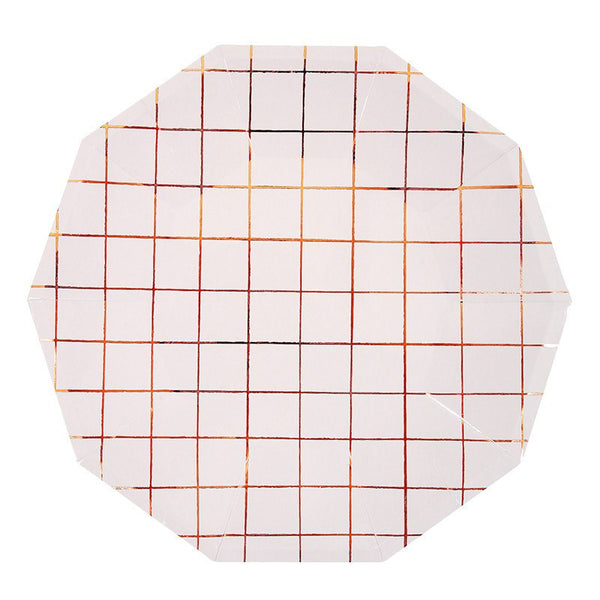 Meri Meri | Plates Grid Rose Gold Lg Pk 8 | Shut the Front Door