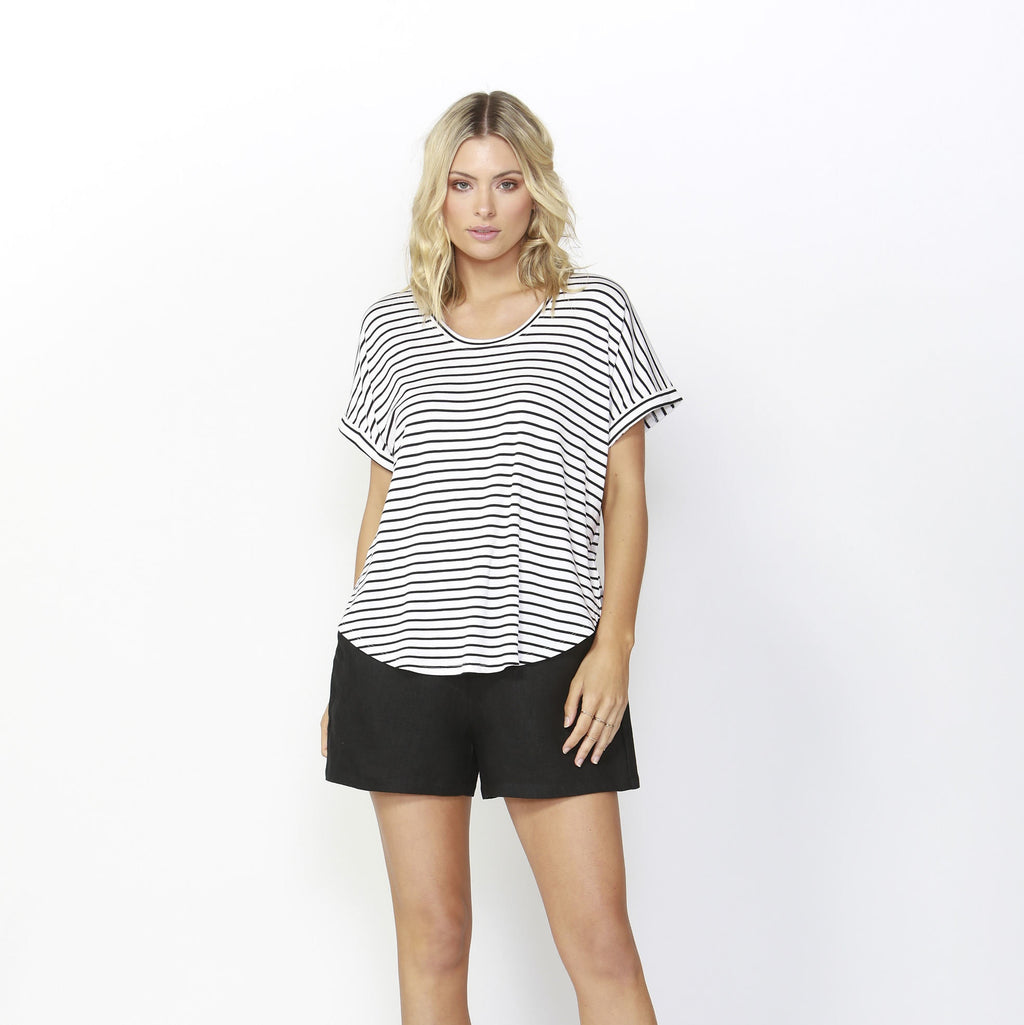 Betty Basics | Adelaide Tee Black/White | Shut the Front Door