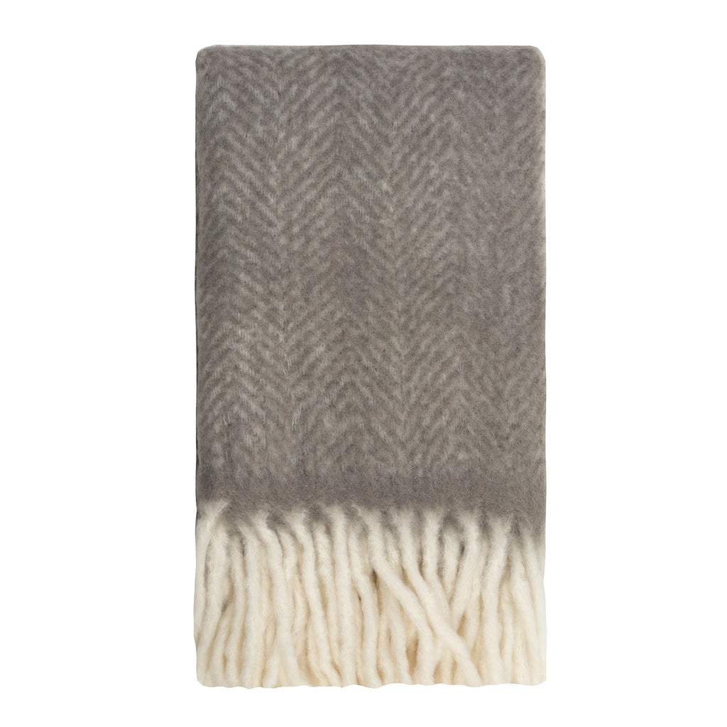 Kerridge Linen | Bliss Mohair Blend Herringbone Throw CHARCOAL | Shut the Front Door