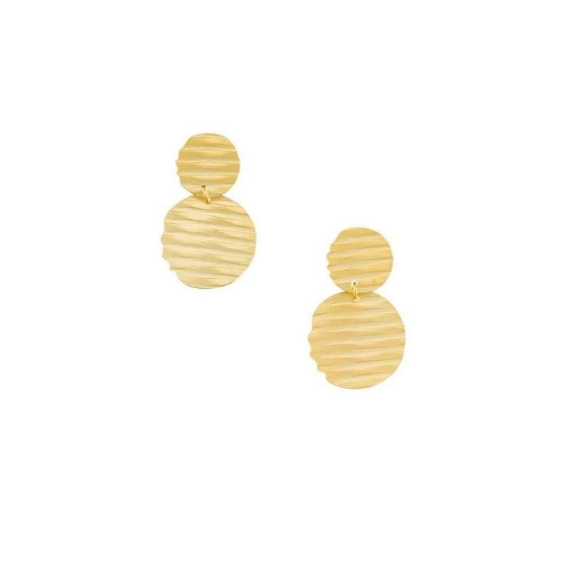 Tiger Tree | Earrings Ripple Double Disc Gold | Shut the Front Door