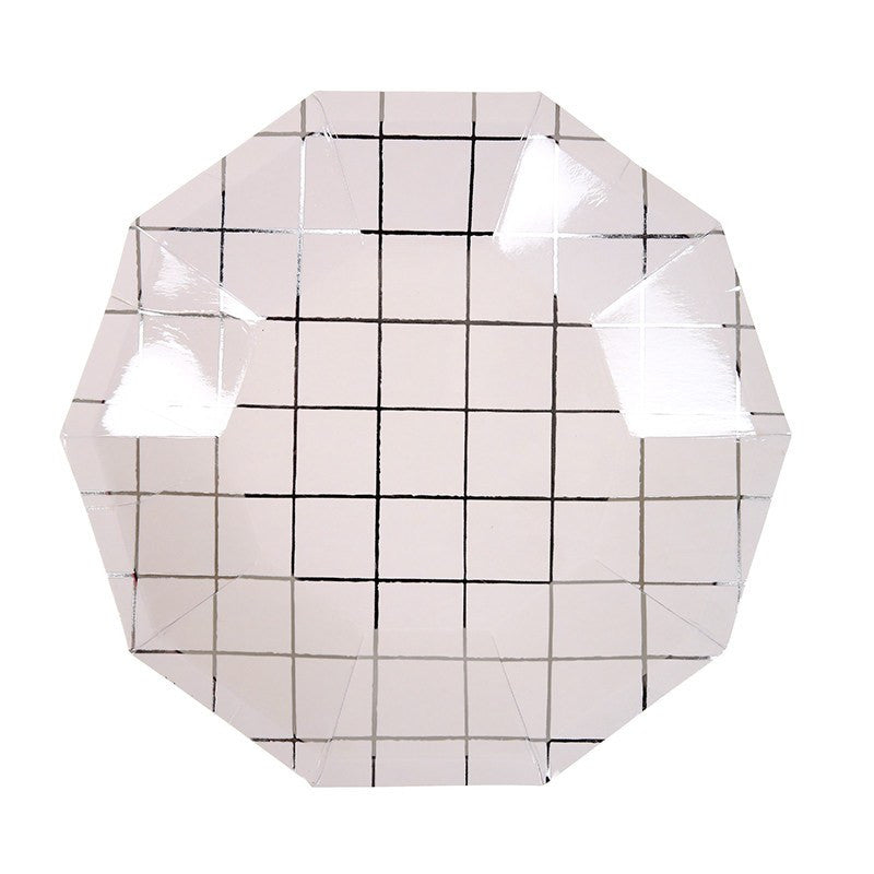 Meri Meri | Plates Grid Silver Sm Pk 8 | Shut the Front Door