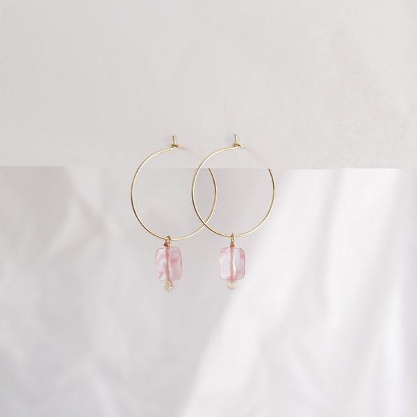 Hydrangea Ranger | Gold Hoop Earrings - Rectangle Rose Agate | Shut the Front Door