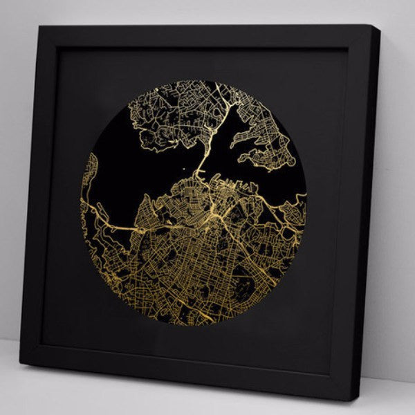 100% NZ | Framed Print Auckland Mapscape - Black | Shut the Front Door