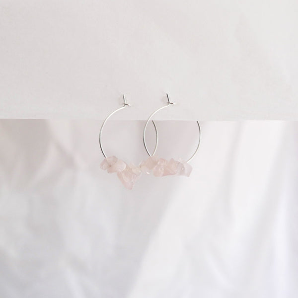 Hydrangea Ranger | Silver Hoops - Rose Quartz Stones | Shut the Front Door