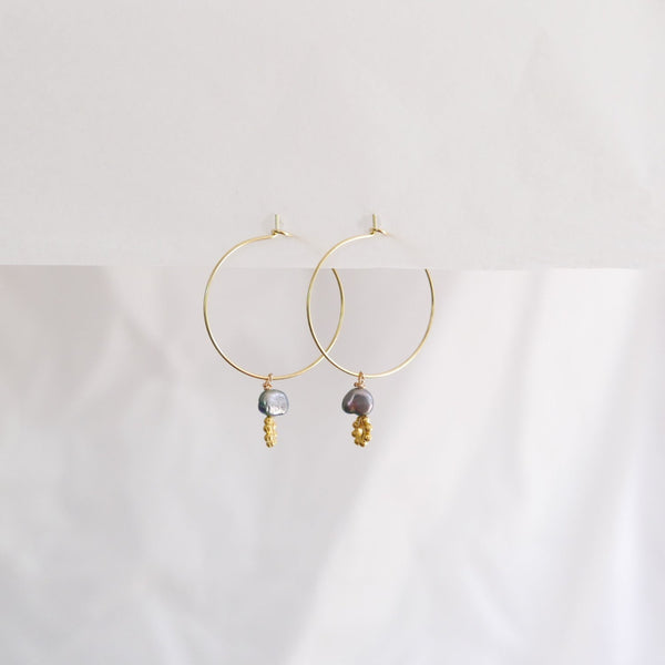 Hydrangea Ranger | Gold Hoops - Black Fresh Water Pearls &  Flowers | Shut the Front Door