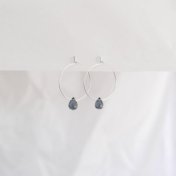 Hydrangea Ranger | Silver Hoops - Dark Lavender Agate Drops | Shut the Front Door