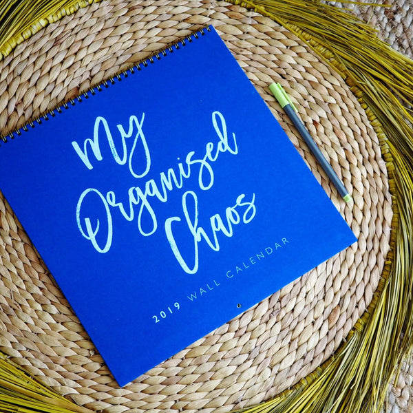 Write to Me Stationery | My Organised Chaos 2019 Wall Calendar - Blue | Shut the Front Door