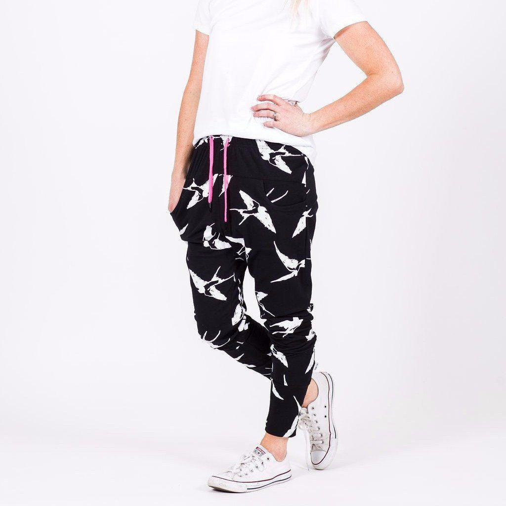 Home-lee | Apartment Pant Black White Bird *PREORDER* | Shut the Front Door