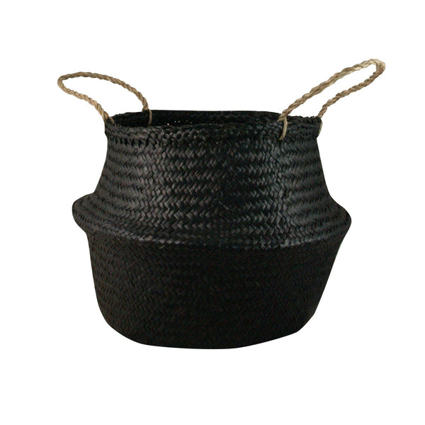 General Eclectic | Seagrass Belly Basket BLACK Medium | Shut the Front Door