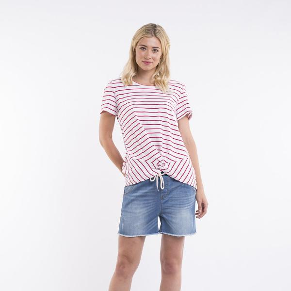 Foxwood | Dover Twist Tee - Red & White Stripe | Shut the Front Door