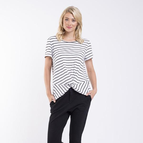 Foxwood | Dover Tee - Black & White Stripe | Shut the Front Door