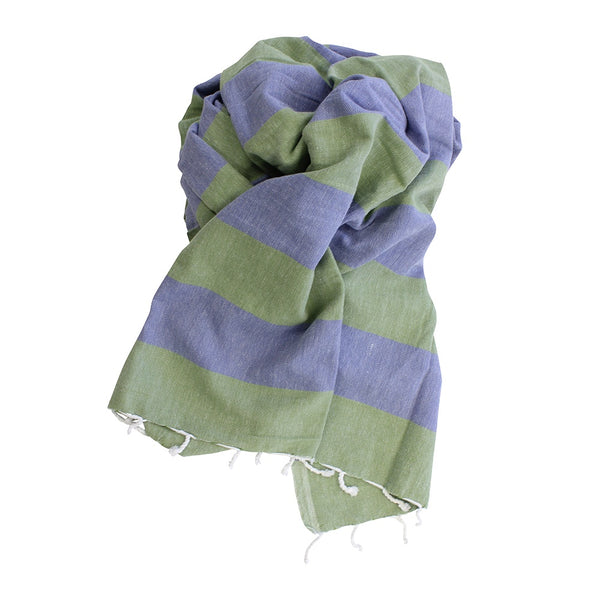 Shut The Front Door | Turkish Towel Double Stripe Olive/Denim | Shut the Front Door