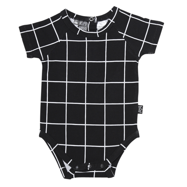 Onesie Short Sleeve Black Check