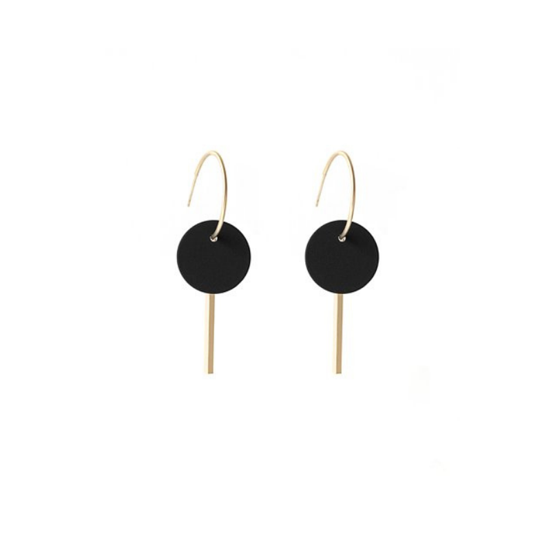 Antler NZ | Earrings Hoop Disc & Silver Rod  - Black | Shut the Front Door