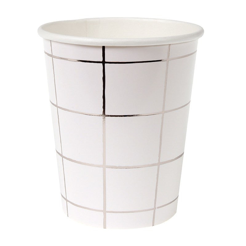 Meri Meri | Party Cups grid Silver 8 pack | Shut the Front Door
