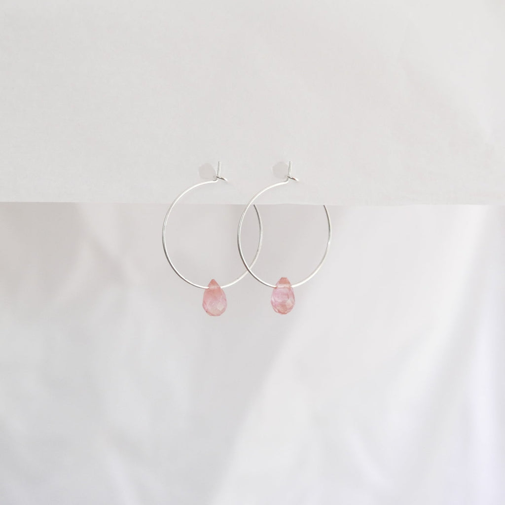 Hydrangea Ranger | Silver Hoops - Rose Agate Drops | Shut the Front Door