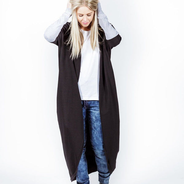 Home-lee | Long Line Kimono Black/Grey | Shut the Front Door