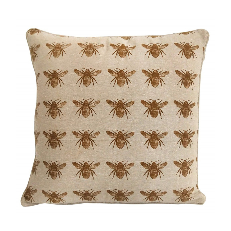Raine & Humble | Bee Print Cushion 45cm - Mustard | Shut the Front Door