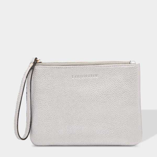 Louenhide | Wikki Medium Clutch - Silver | Shut the Front Door