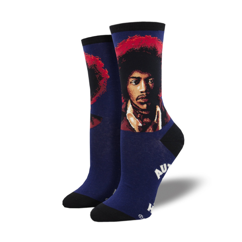 Socksmith | Women's Hendrix Portrait Socks - Blue | Shut the Front Door