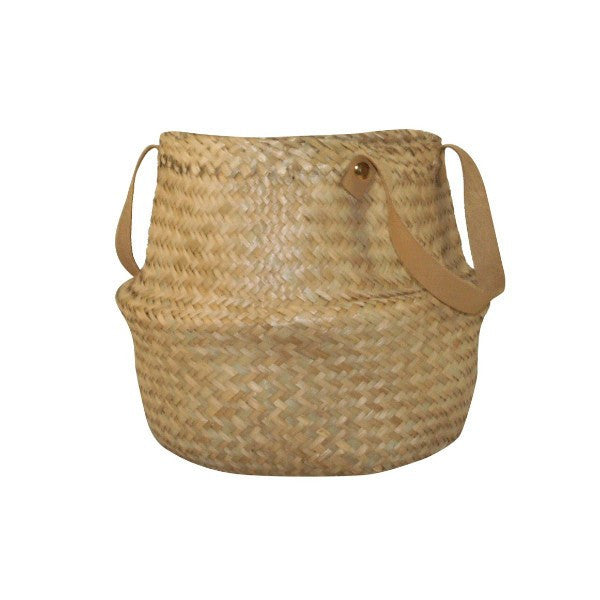 General Eclectic | Seagrass Belly Basket Leather Handle | Shut the Front Door
