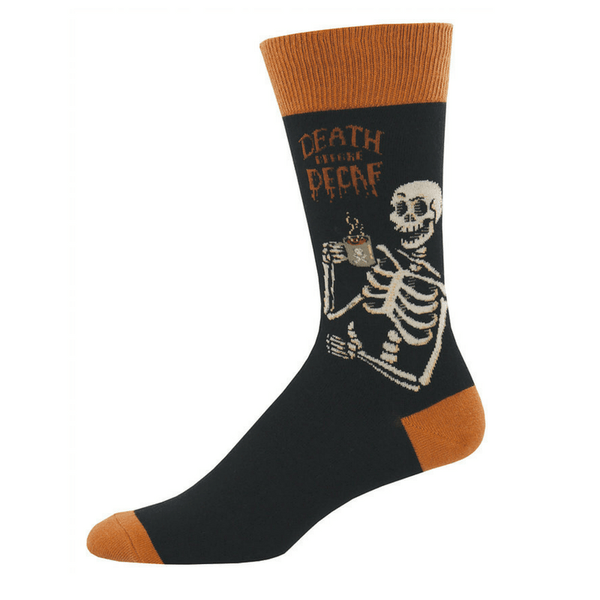 Socksmith | Socks Mens Death Before Decaf Black | Shut the Front Door
