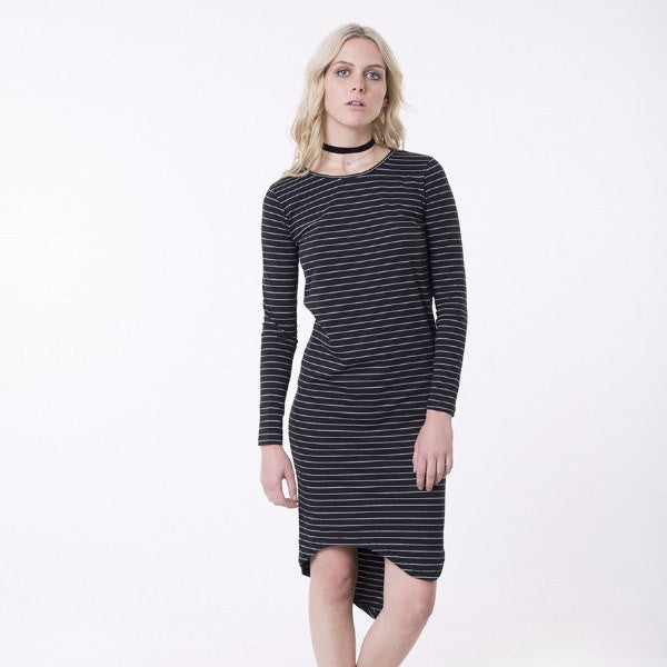 Silent Theory | Dress Diversion Stripe Black/White Long Sleeves | Shut the Front Door